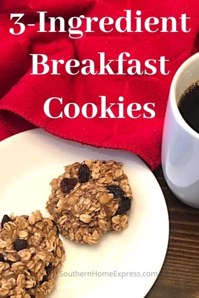 Two 3-ingredient breakfast cookies on a plate beside a cup of coffee