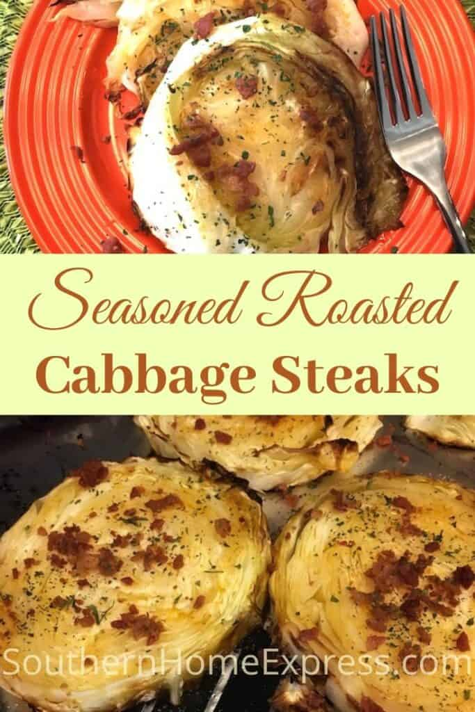 Seasoned roasted cabbage steaks on a pan and on a plate