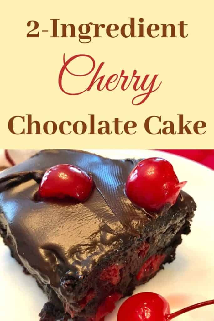Slice of 2-ingredient cherry chocolate cake on a plate beside a maraschino cherry