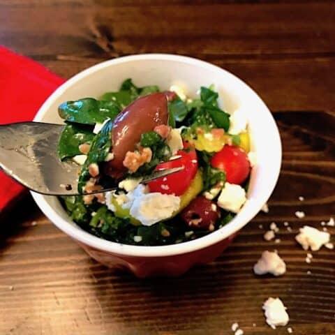 Bowl of Greek olive and feta salad