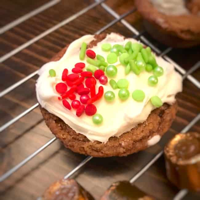 Cookie with red and green sprinkles on top