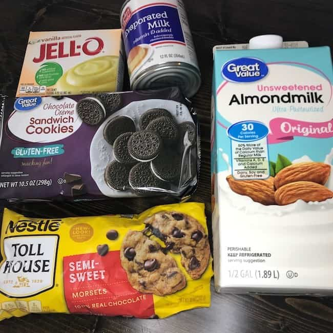 Instant jellow mix, evaporated milk, almond milk, chocolate sandwich cookies, and chocolate chips