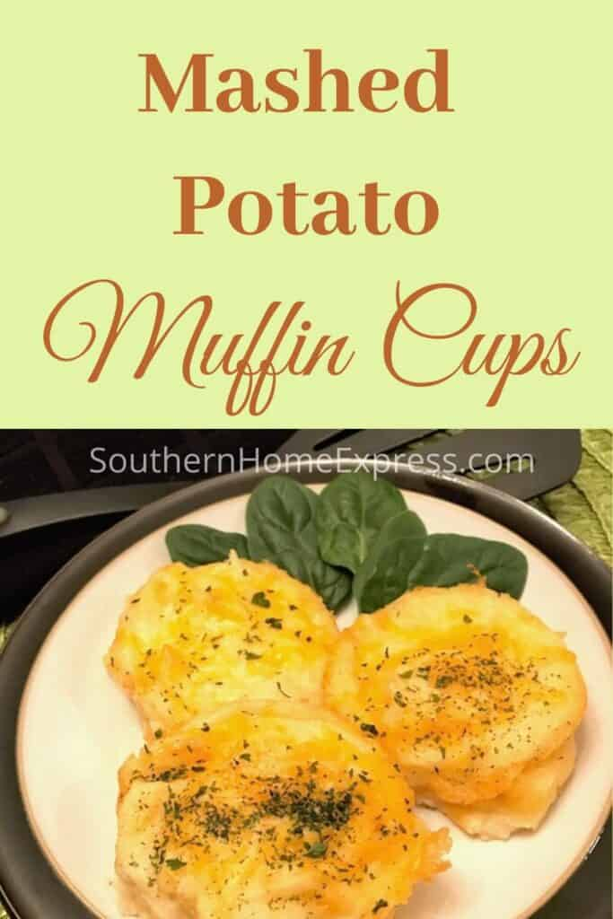 3 mashed potato muffin cups on a plate