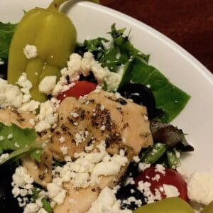Mediterranean salad with peppers and feta cheese