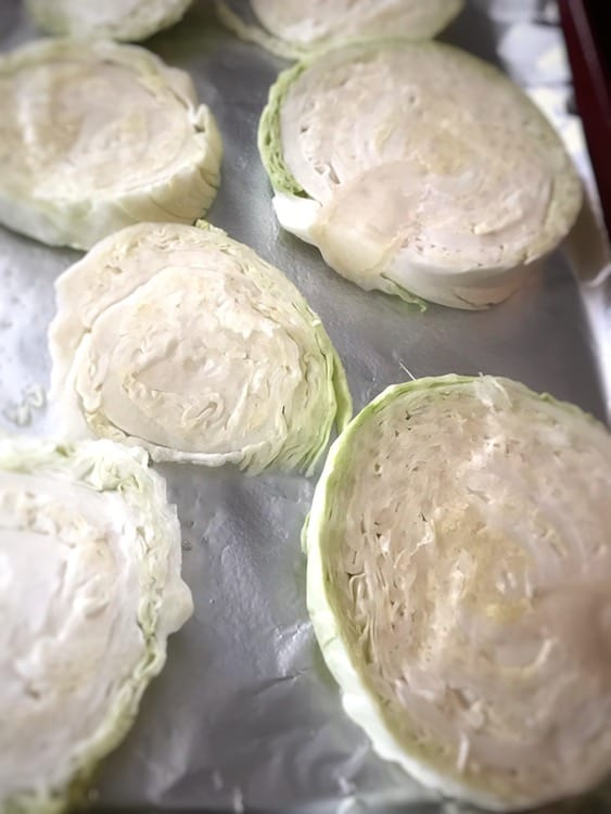 Raw cabbage slices