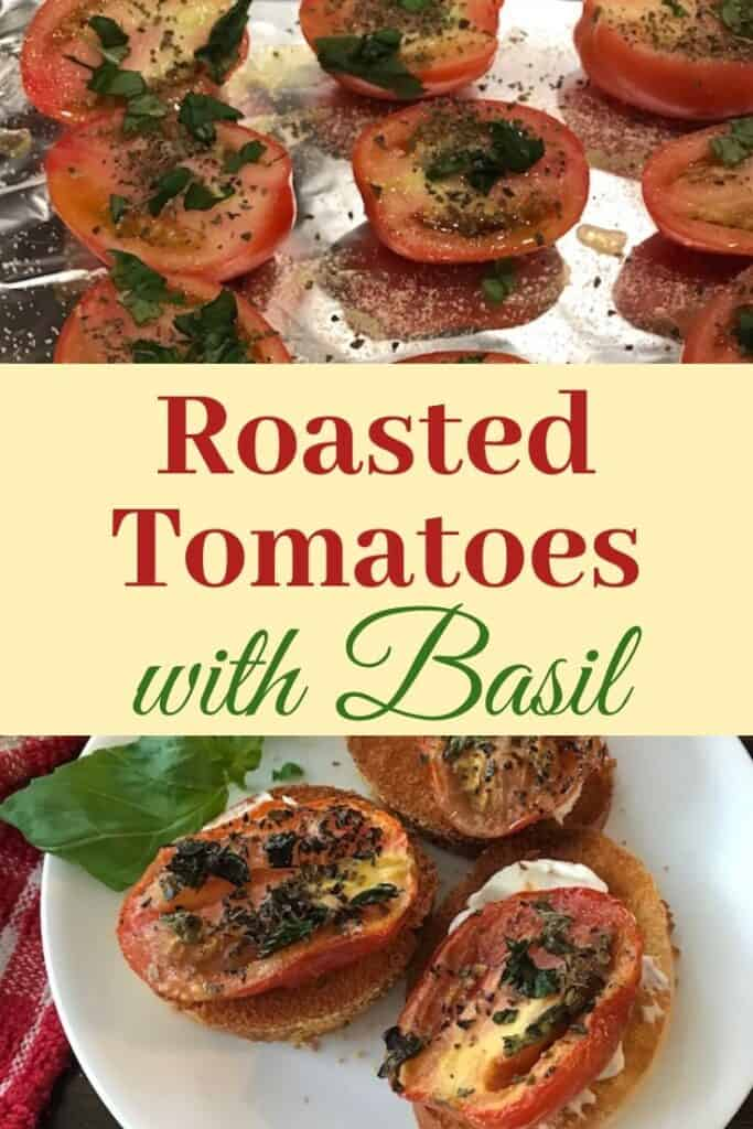Roasted tomatoes with basil on crusty french bread