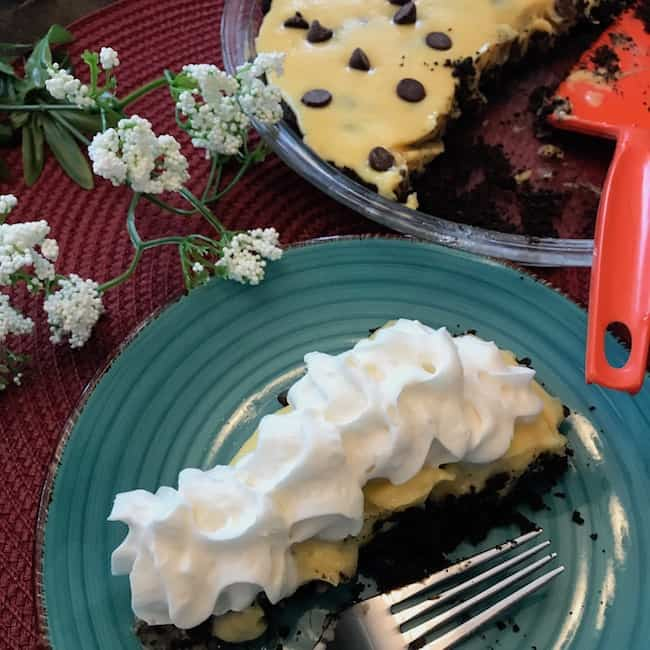 Piece of pie with whipped cream beside whole pie