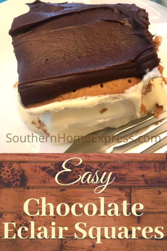 Chocolate eclair square with a fork