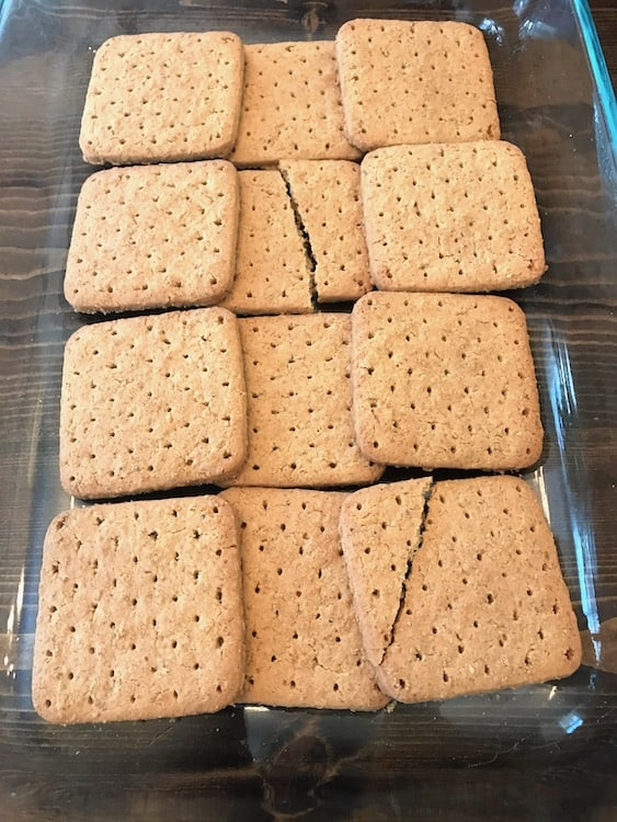 Graham crackers in the bottom of baking dish