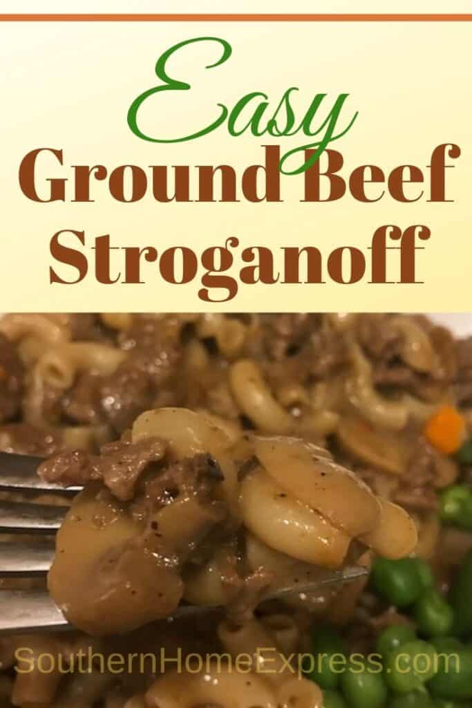 Ground beef stroganoff with peas and carrots