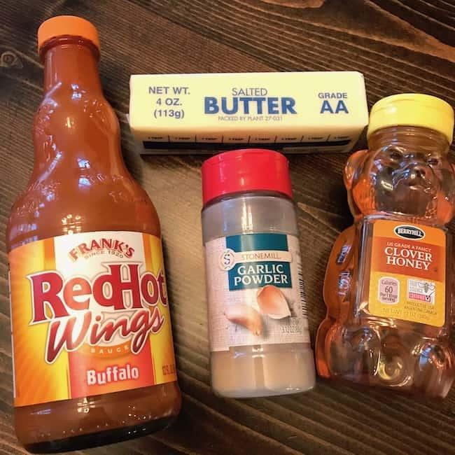 Butter, hot sauce, garlic powder, and honey