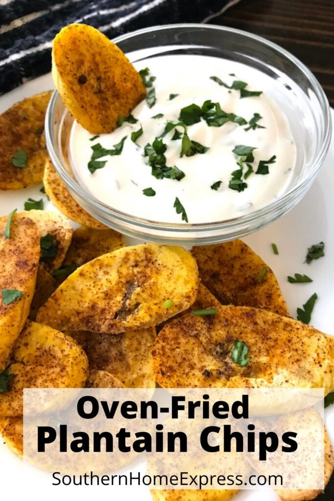 plantain chips with bowl of dip