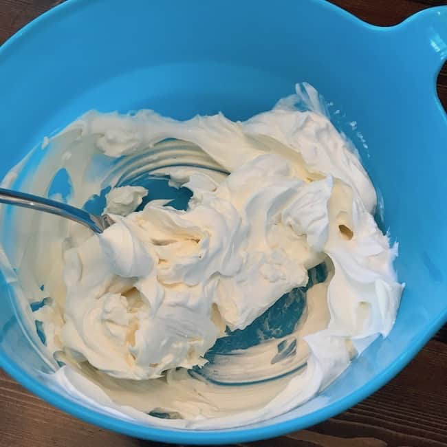 Cream cheese and sour cream in a bowl