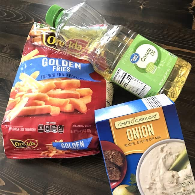 Frozen fried potatoes, cooking oil, and onion soup mix