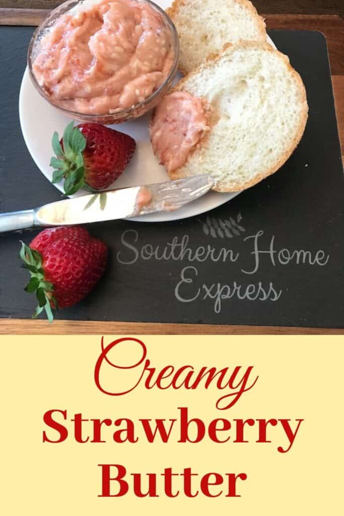 Strawberry butter, bread, and strawberries