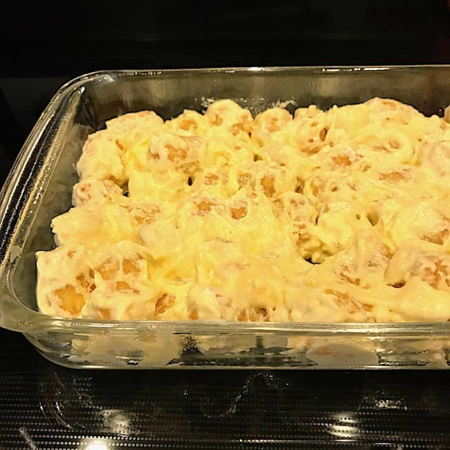Tater Tot mixture in a casserole dish