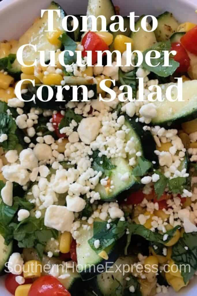 Tomato cucumber corn salad with feta cheese