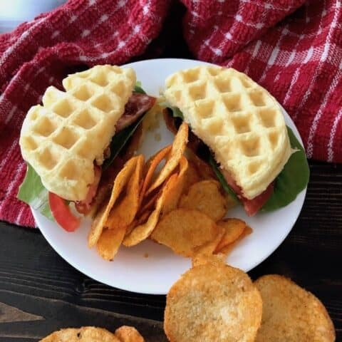 BLT chaffle with a side of potato chips