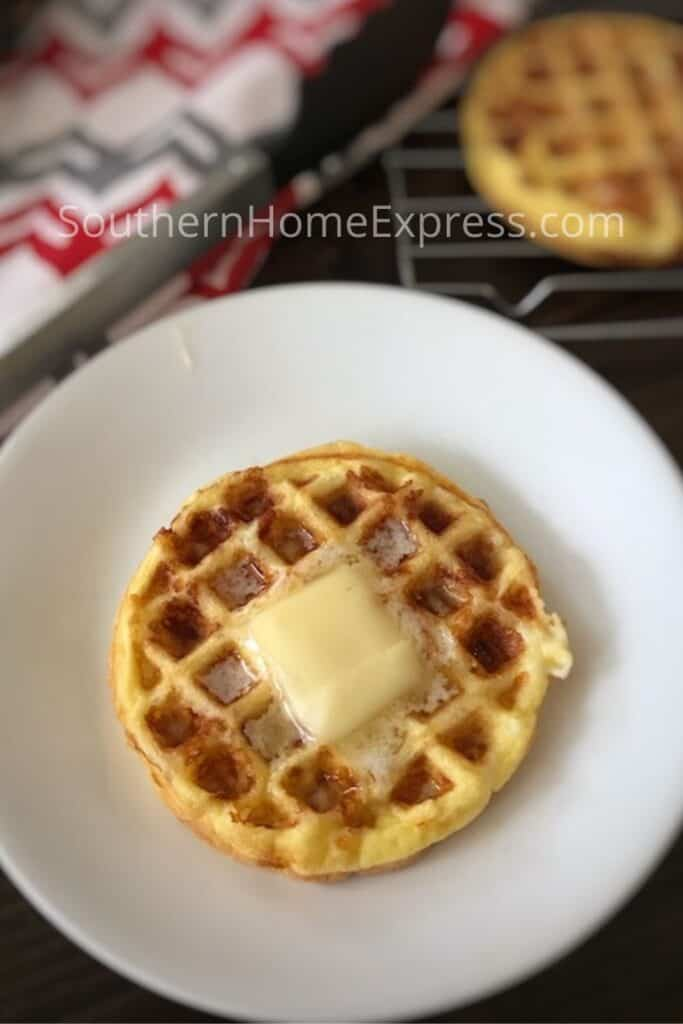 Chaffle with butter on a plate