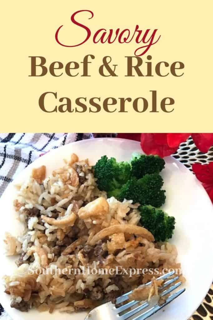 Beef and rice casserole on a plate with steamed broccoli