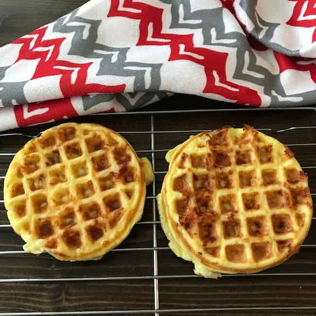 2 chaffles on a cooling rack