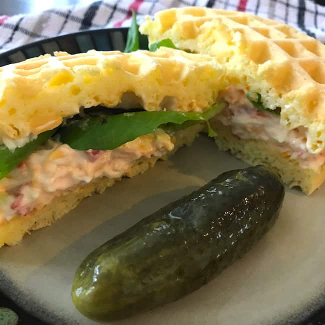 Pimento cheese chaffle sandwich with a pickle