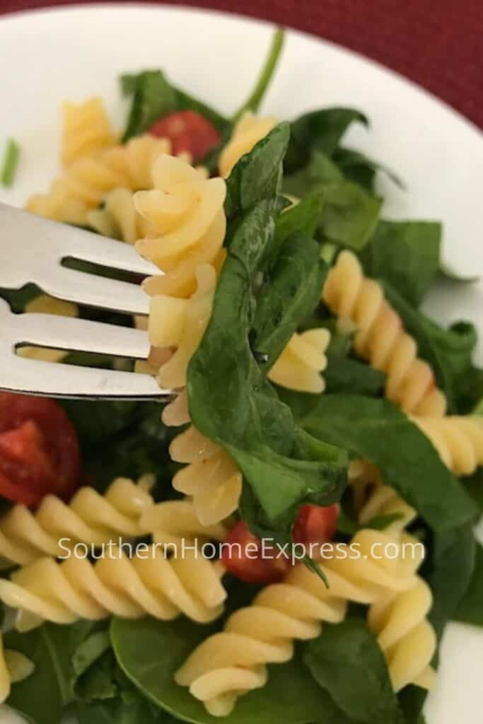 Pasta salad with greens and tomatoes