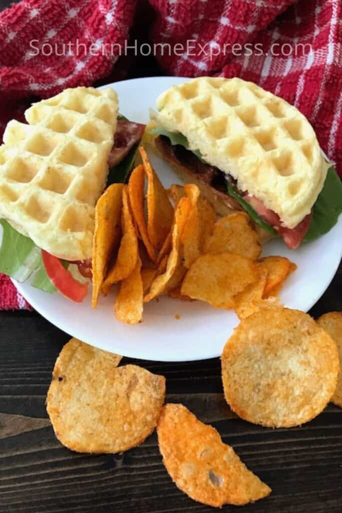 BLT chaffle sandwich with a side of potato chips