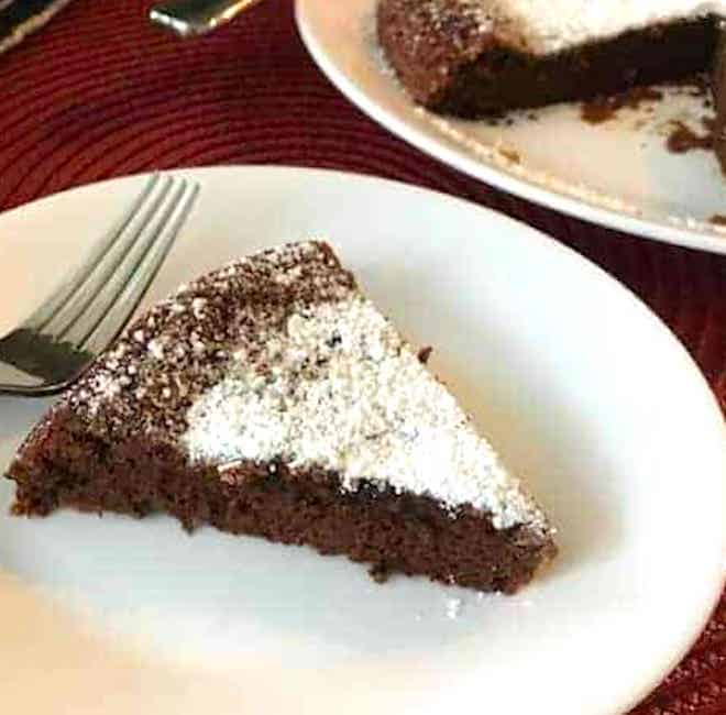 Slice of chocolate cake on a plate