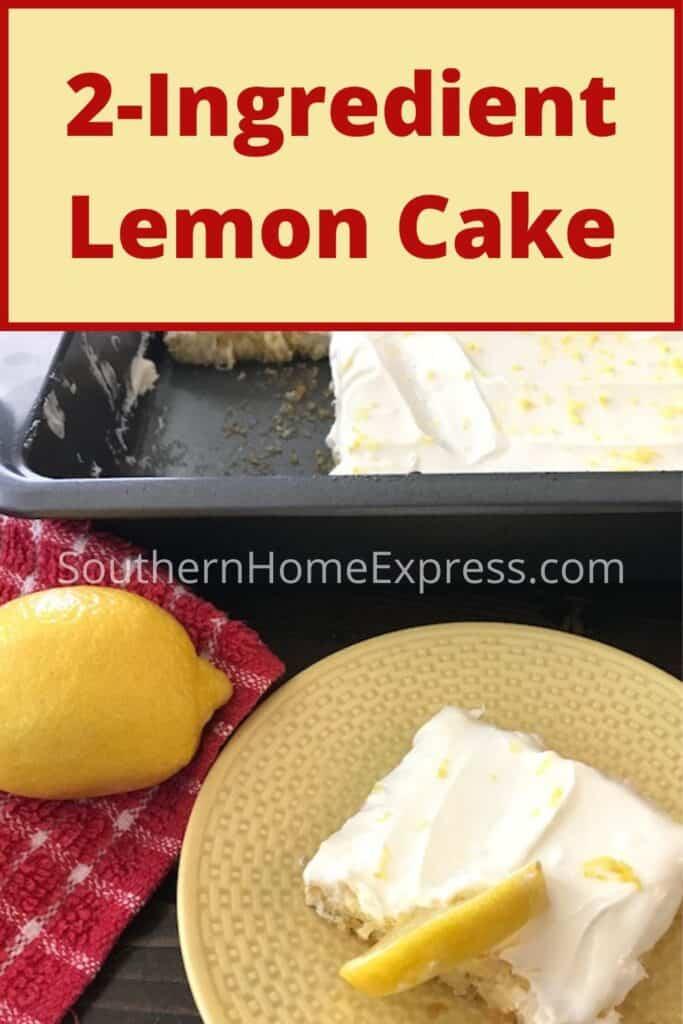 Slice of 2-ingredient lemon cake