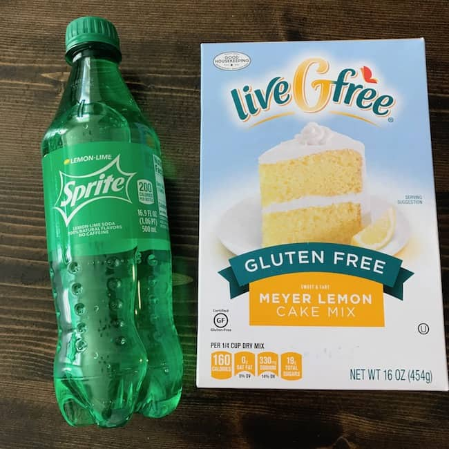 Bottle of Sprite and a box of lemon cake mix