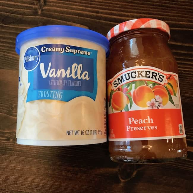 Vanilla frosting and peach preserves