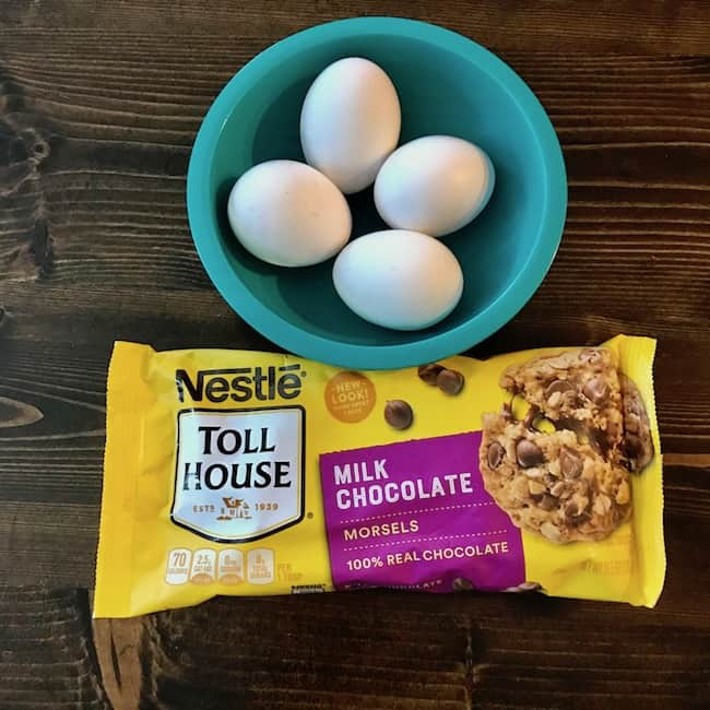 Eggs and chocolate chips - 2 of the ingredients for a 3-ingredient chocolate cake