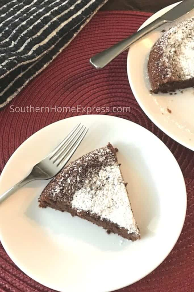 Slice of 3-ingredient chocolate cake on a plate