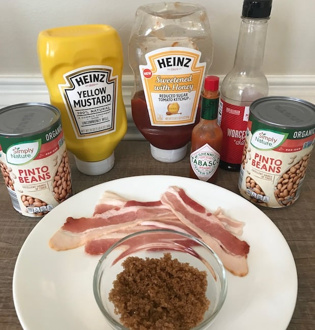 Beans, mustard, ketchup, hot sauce, Wocestershire sauce, bacon, and brown sugar