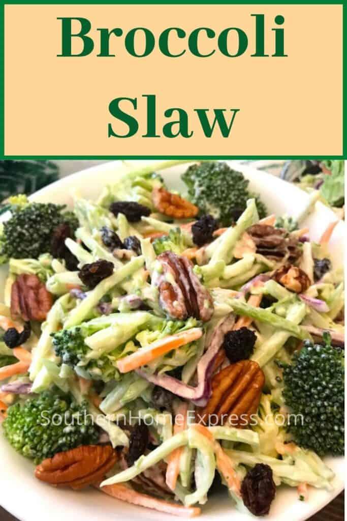 Bowl of broccoli slaw