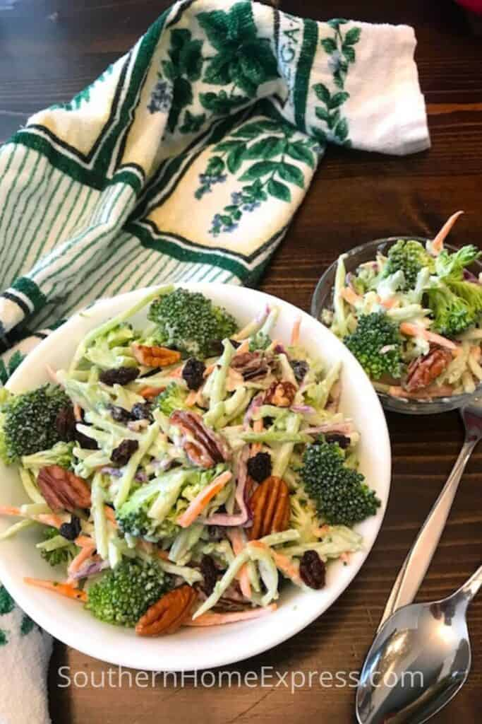 2 bowls of broccoli slaw
