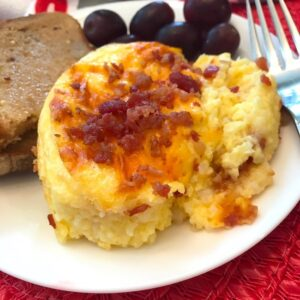 Baked grits casserole on a plate