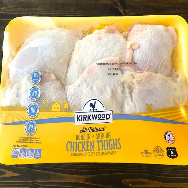 Package of chicken thighs