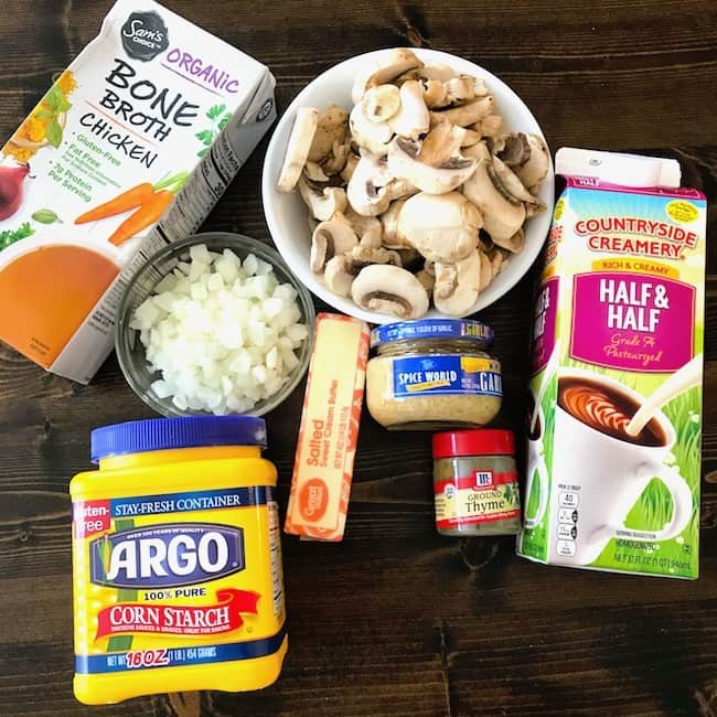 Chicken broth, sliced mushrooms, half and half, chopped onions, butter, minced garlic, ground thyme, and corn starch