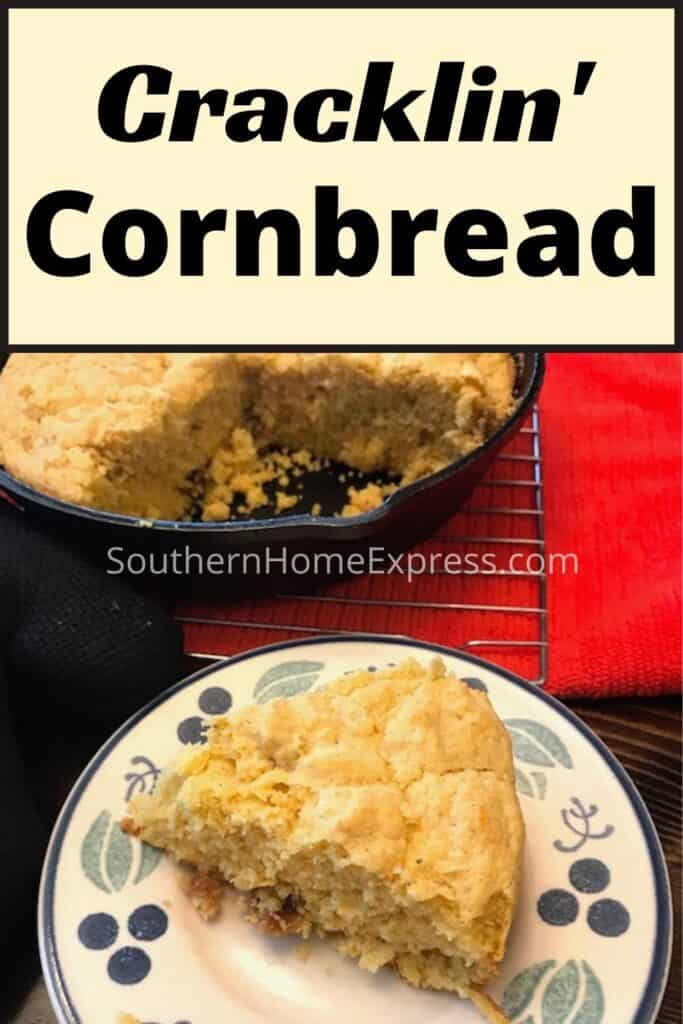Slice of cracklin cornbread on a plate