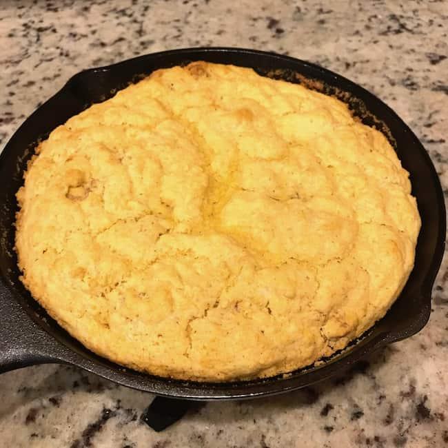 Baked cracklin cornbread in a skillet