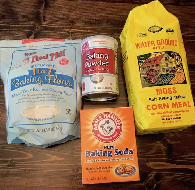 Flour, baking powder, baking soda, and corn meal