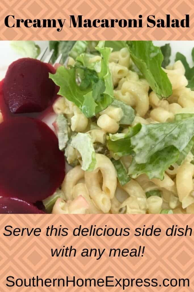 Macaroni salad with a side of beets