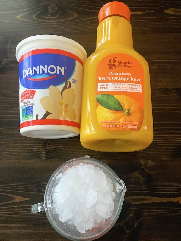 Vanilla yogurt, orange juice, and crushed ice