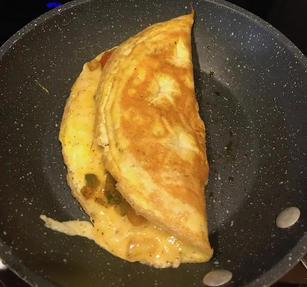 Omelet folded in the pan