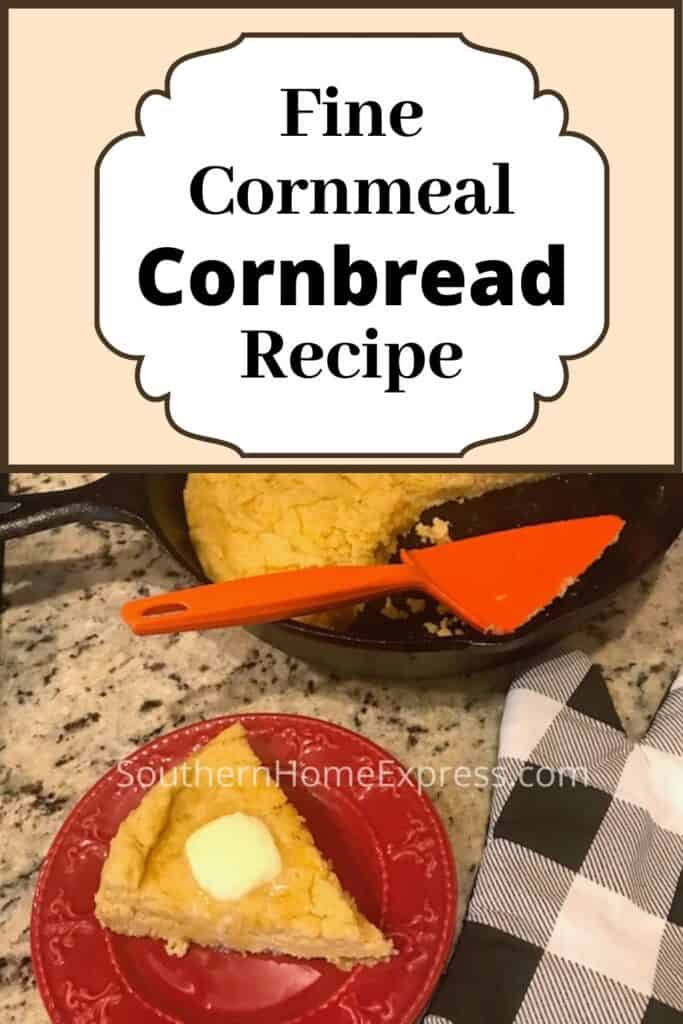 Slice of fine-ground cornmeal cornbread with melting butter beside the skillet of cornbread and a potholder