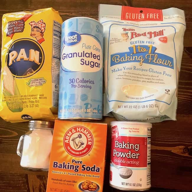 Fine-ground cornmeal, granulated sugar, flour, salt, baking soda, and baking powder