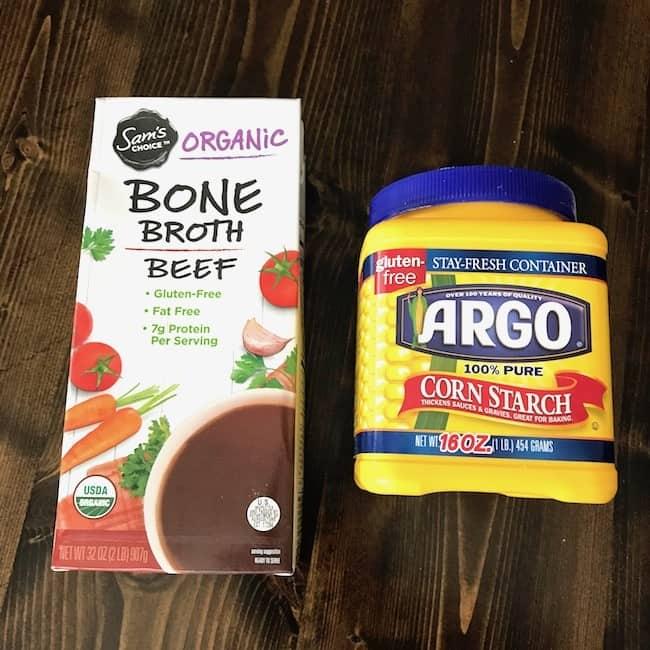 Beef broth and cornstarch