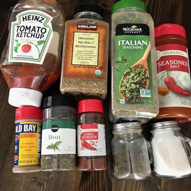 Ketchup, organic seasoning, Italian seasoning, seasoned salt, Old Bay seasoning, basil, chili powder, pepper, and salt